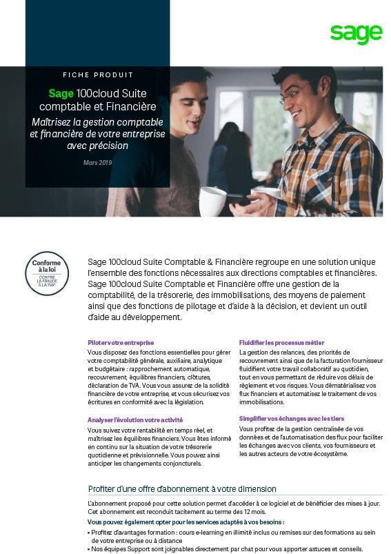 Sage 100cloud Suite comptable et financière