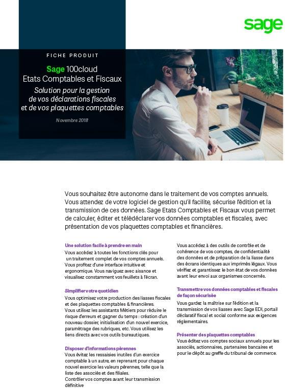 Sage 100cloud Etats Comptables et Fiscaux